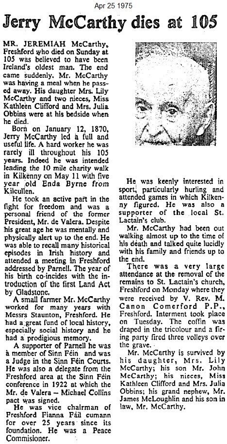 jeremiah mccarthy kilkenny 105 years